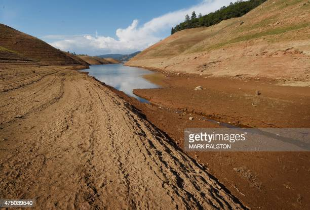 A bottom section is exposed at the the Oroville Lake reservoir which is now at less than 25 percent capacity as a severe drought continues to affect...