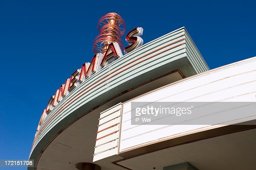 A bottom view of a movie marquee