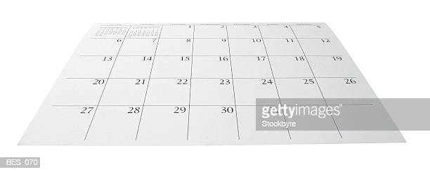 Bottom view of calendar page