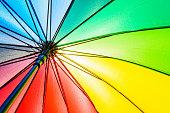 Bottom view of Rainbow umbrella texture background.