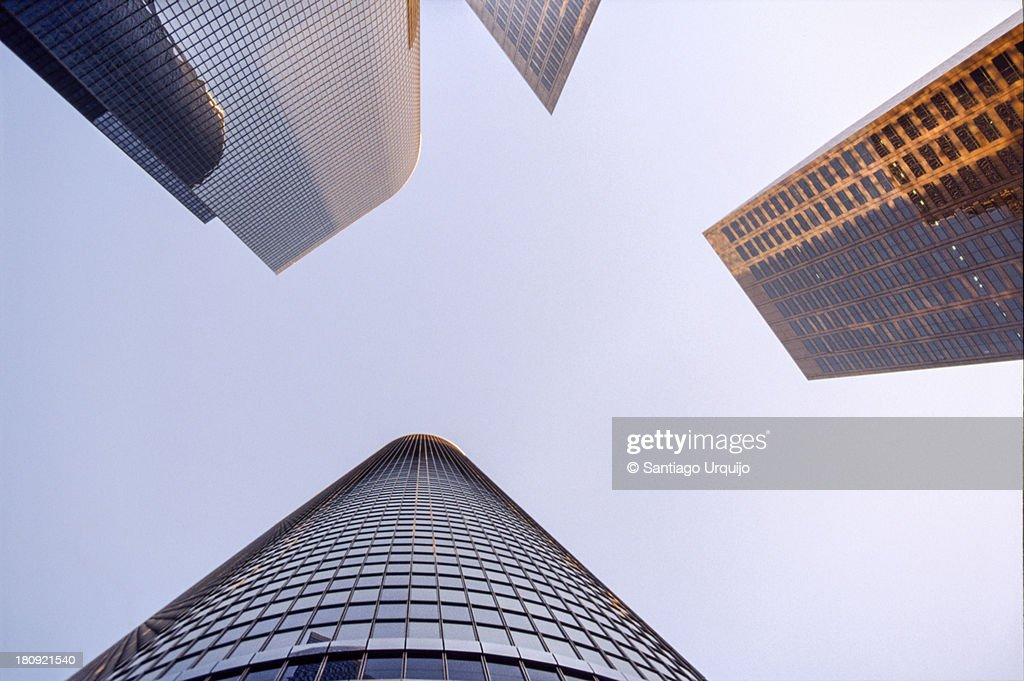 Bottom-up view of skyscrapers at downtown LA : Stock Photo