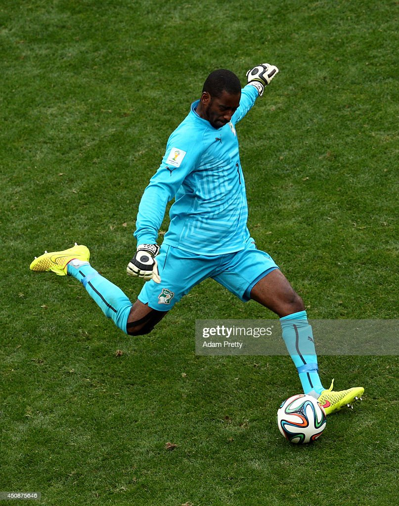<a gi-track='captionPersonalityLinkClicked' href=/galleries/search?phrase=Boubacar+Barry&family=editorial&specificpeople=550738 ng-click='$event.stopPropagation()'>Boubacar Barry</a> of the Ivory Coast kicks the ball during the 2014 FIFA World Cup Brazil Group C match between Colombia and Cote D'Ivoire at Estadio Nacional on June 19, 2014 in Brasilia, Brazil.