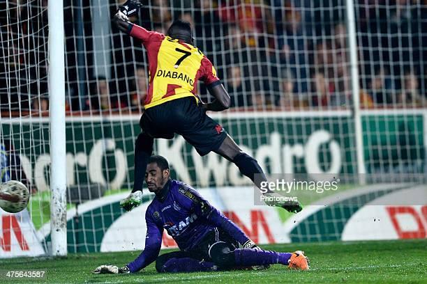 Boubacar Dialiba Diabang of KV Mechelen misses during the Jupiler Pro League match between KV Mechelen and Sporting Lokeren on February 28 2014 in...