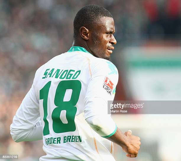Boubacar Sanogo of Bremen seen during the Bundesliga match between Werder Bremen and Borussia Dortmund at the Weser stadium on October 18 2008 in...