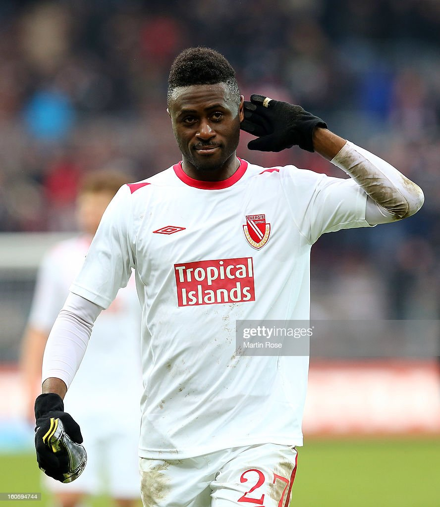 Boubacar Sanogo of Cottbus reacts after the second Bundesliga match between FC St. Pauli and Energie Cottbus at Millerntor Stadium at Millerntor Stadium on February 3, 2013 in Hamburg, Germany.