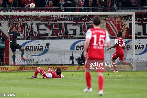 Boubacar Sanogo of Cottbus scores the sixt goal during the Second Bundesliga match between FC Energie Cottbus and 1FC Kaiserslautern at Stadion der...