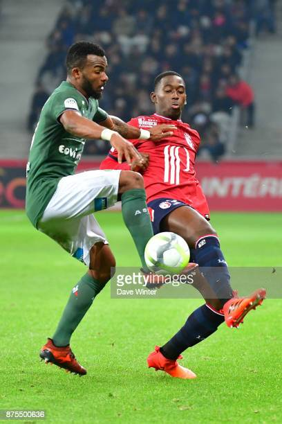 Boubakary Soumare of Lille and Habib Maiga of St Etienne during the Ligue 1 match between Lille OSC and AS SaintEtienne at Stade Pierre Mauroy on...