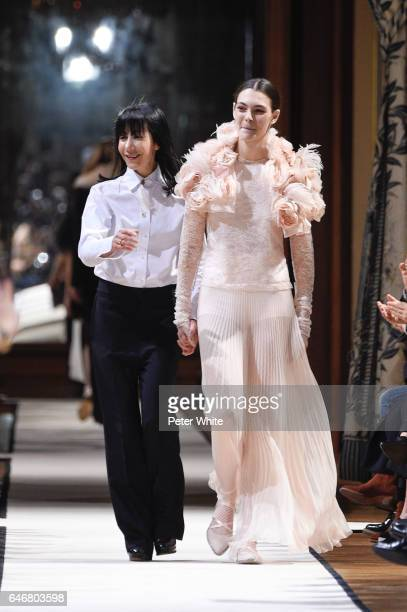 Bouchra Jarrar and Vittoria Ceretti walk the runway after the Lanvin show as part of the Paris Fashion Week Womenswear Fall/Winter 2017/2018 on March...