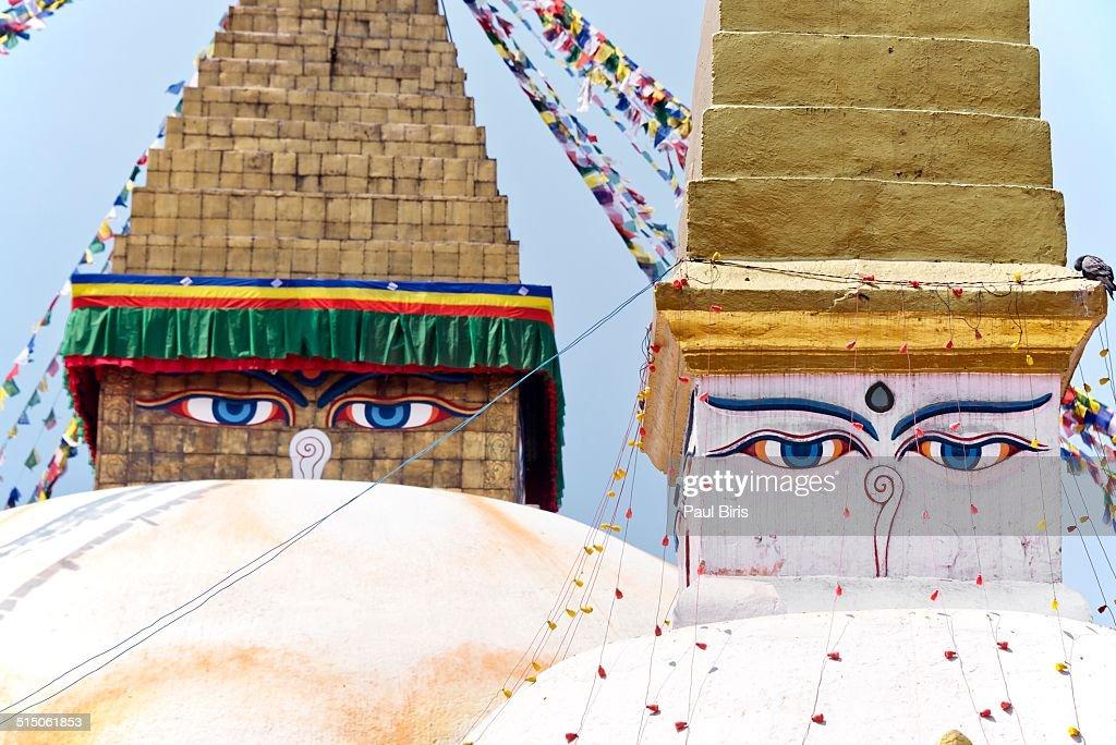 Boudhanath stupa  and  Buddha eyes
