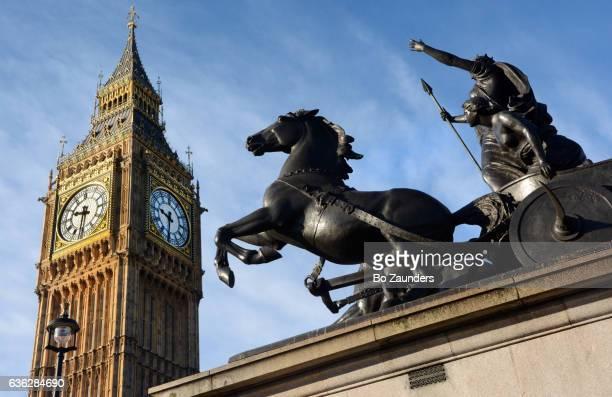 Boudicea statue and Big Ben, London
