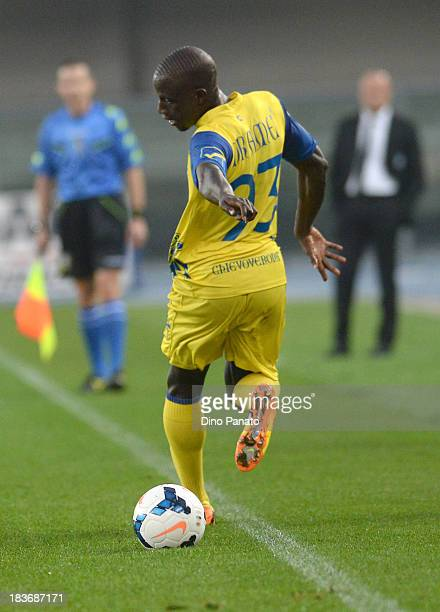 Boukary Drame of AC Chievo Verona in action during the Serie A match between AC Chievo Verona and Atalanta BC at Stadio Marc'Antonio Bentegodi on...