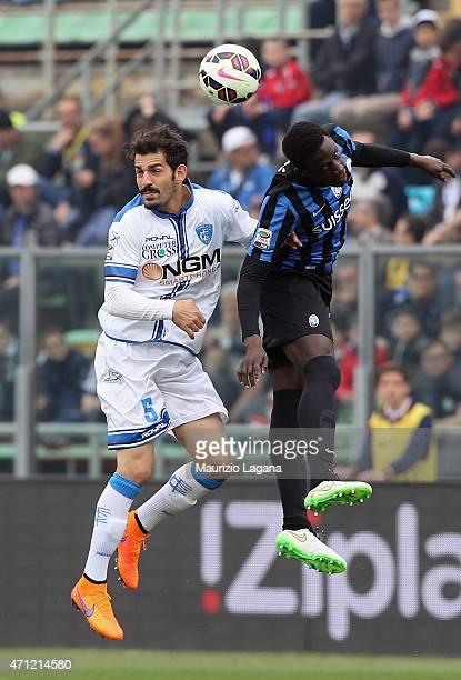 Boukary Drame of Atalanta competes for the ball in air with Riccardo Saponara of Empoli during the Serie A match between Atalanta BC and Empoli FC at...