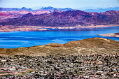 Aerial view of Boulder City and the Colorado River in the back