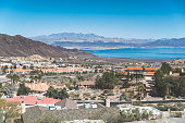 A stock photo of Boulder City, Nevada. Lake Mead can be seen in the distance.