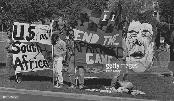 MAY 24 1986 Boulder Colo CU Protesters CU South Africa awareness group and others protest on campus Friday Morning Just A Handful of Protesters...