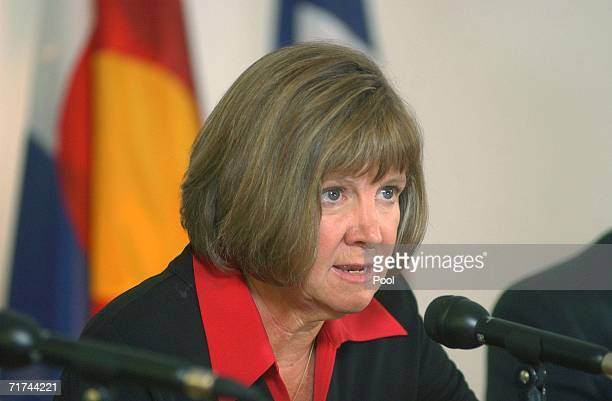 Boulder County District Attorney Mary Lacy speaks to the media during a press conference at the Boulder County Justice Center August 29 2006 in...