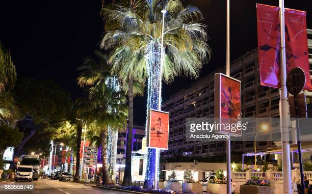 Boulevard de la Croisette decorates with 70th Cannes Film Festival posters in Cannes France on May 16 2017 The 70th annual Cannes Film Festival will...