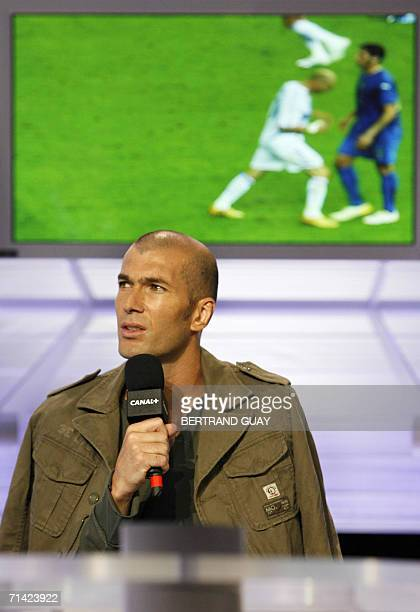 French football team midfielder and captain Zinedine Zidane gives an interview on French television channel Canal Plus to explain his version of the...