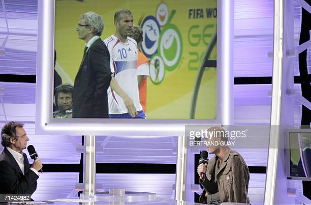 French football team midfielder and captain Zinedine Zidane gives an interview to French television channel Canal Plus journalist Michel Denisot to...