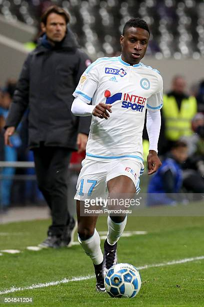 Bouna Sarr for Marseille in action during the French League Cup quarter final between Toulouse and Marseille at Stadium Municipal on January 13 2016...