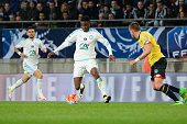 Bouna Sarr of Marseille during the semifinal French Cup between Sochaux and Olympique de Marseille at Stade Auguste Bonal on April 20 2016 in...