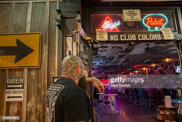 Bouncer at the front door of Hogs and Heifers Saloon