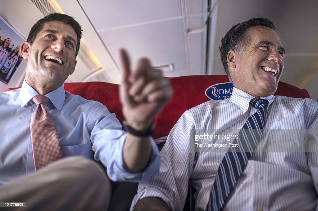 Bound for a Colorado rally, Republican nominee for President Governor Mitt Romney and Vice Presidential running mate Congressman Paul Ryan (R-WI) meet aboard the campaign plane over Henderson, Nevada, Tuesday, October, 23, 2012.