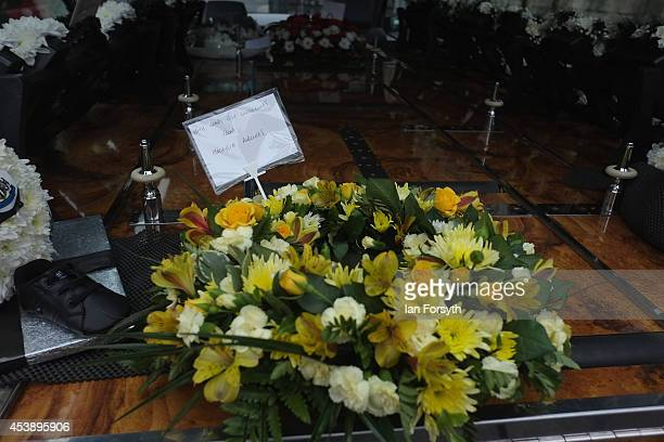 A bouquet is senn during the funeral of lifelong Newcastle United fan Liam Sweeney taking place at St Mary's Cathedral on August 21 2014 in Newcastle...