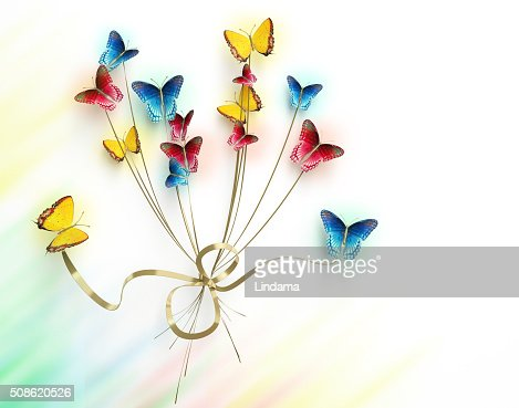 Bouquet of butterflies on white background : Stock Photo