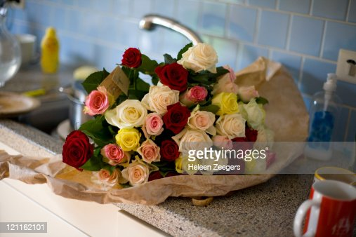 bouquet of colored roses : Stock Photo