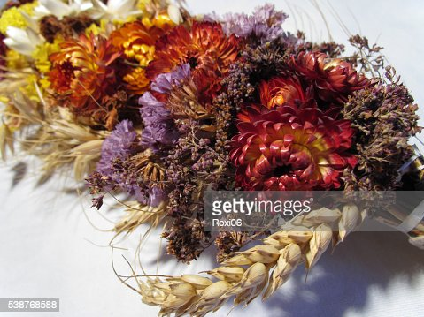 bouquet of dried flowers and poppies : Stock Photo