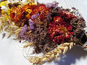 dried flowers, spikelets, poppy tied in a bouquet for the Savior of the Honey Feast Day