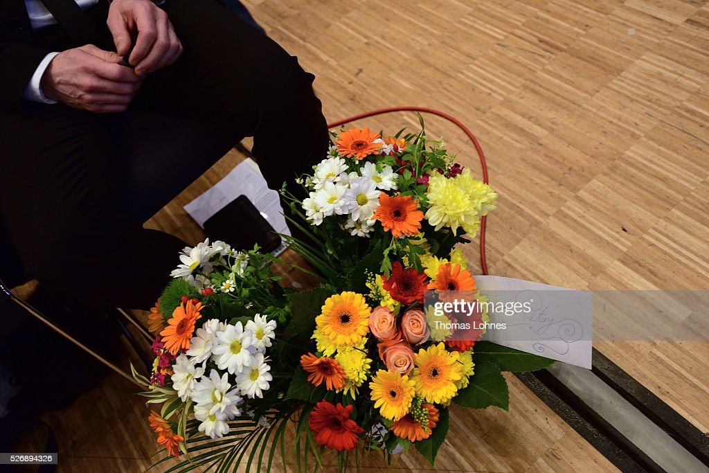 A bouquet of flowers for Frauke Petry, head of the Alternative fuer Deutschland (AfD) political party pictured at he party's federal congress on May 01, 2016 in Stuttgart, Germany. The AfD, a relative newcomer to the German political landscape, has emerged from Euro-sceptic conservatism towards a more right-wing leaning appeal based in large part on opposition to Germany's generous refugees and migrants policy. Since winning seats in March elections in three German state parliaments the party has sharpened its tone, calling for a ban on minarets and claiming that Islam does not belong in Germany.