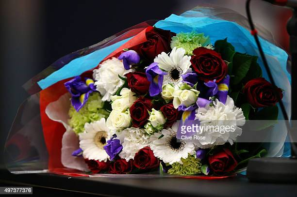 A bouquet of flowers in the French national colours is seen during the France Press Conference at Wembley Stadium on November 16 2015 in London...