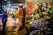 A bouquet of flowers placed in front of the explosion site on January 14 2016 in Jakarta Indonesia Reports of explosions and gunshots in the centre...