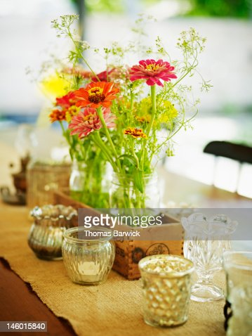 Bouquet of fresh flowers on outdoor table : Stock Photo