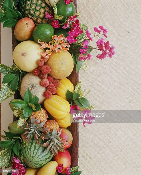 Bouquet of fruit and flowers.