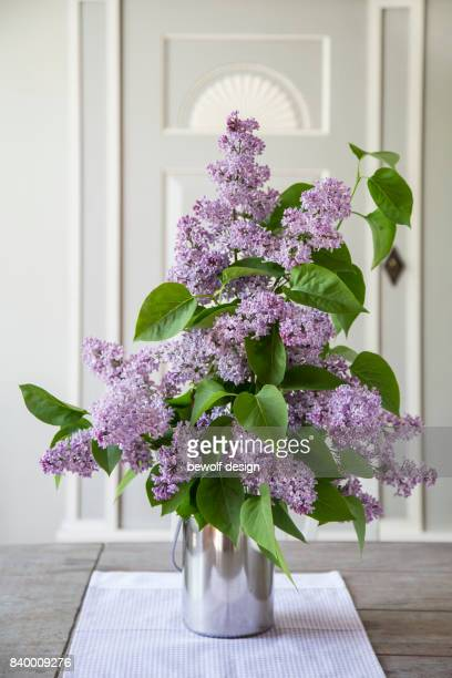 Bouquet of Lilac in metal vase