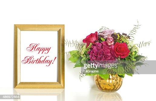 Bouquet De Fleurs Rose Et Cadre Joyeux Anniversaire Or Photo