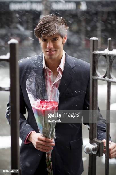 Bouquet of Roses from Handsome Young Man on Date, Copyspace