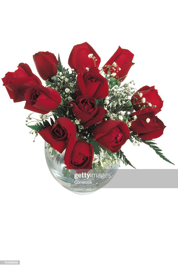 Bouquet of roses in a vase : Stock Photo