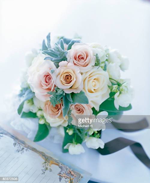 Bouquet of rose,spray rose,silver lace,lamb's ear.