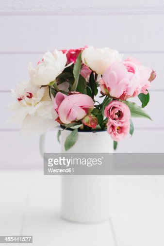 Bouquet of summer flowers on table, close up