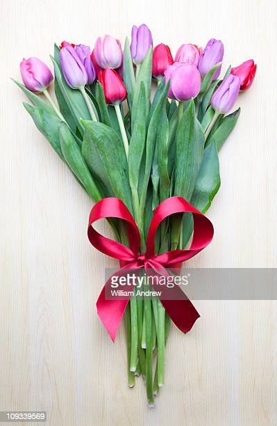 Bouquet of tulips with red ribbon