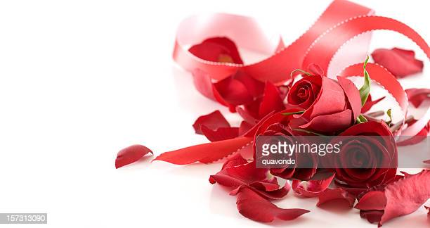 Bouquet of Valentine Roses and Ribbon on White, Copy Space