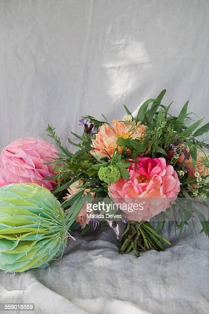 Bouquet of wedding flowers, pink peonies