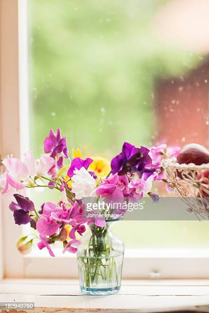 Bouquet on window sill