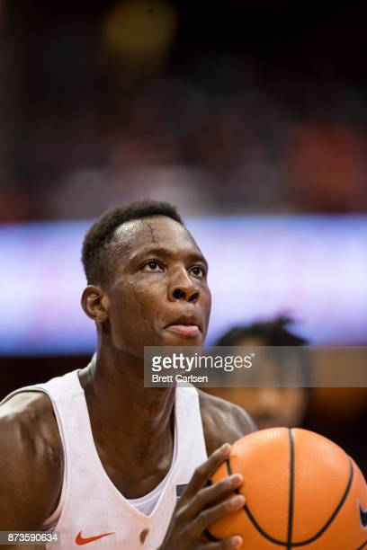 Bourama Sidibe of the Syracuse Orange shoots a free throw against the Cornell Big Red at the Carrier Dome on November 10 2017 in Syracuse New York...