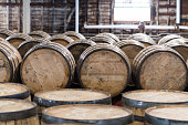 Bourbon Barrel Storage Room with barrels standing and rolling