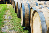 Barrels used for aging bourbon whiskey at a distillery in Kentucky.